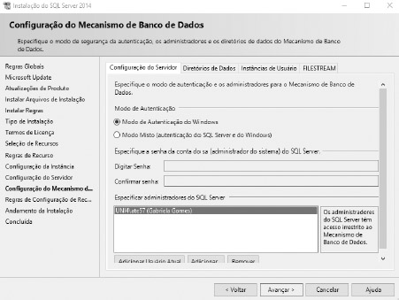 Instalação SQL server - Passo 07